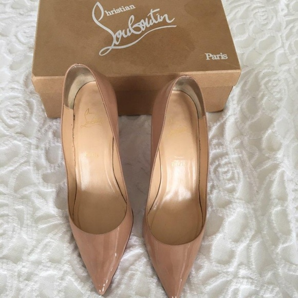38126579a3d7 Christian Louboutin Shoes - Christian Louboutin Pigalle 85 Patent Calf in  nude